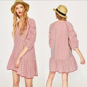 Zara Basic Red White Stripe Embroidered Dress